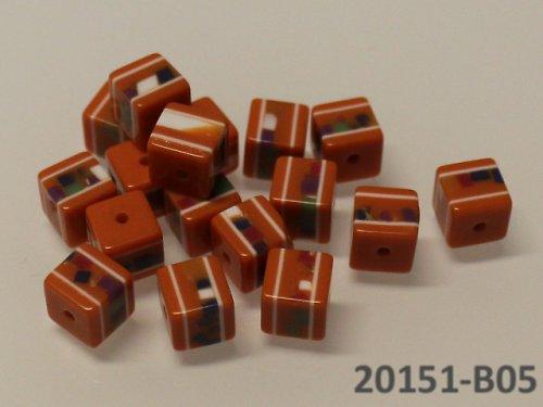 20151-B05 Korálky kostky mozaika ORANŽ bal.10ks