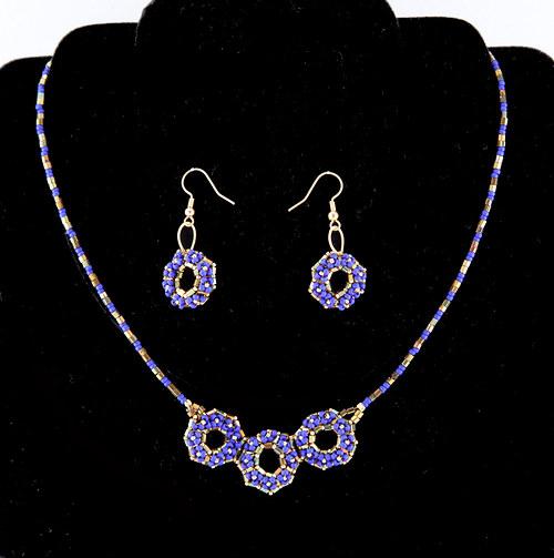 Souprava náhrdelník a náušnice - modrá, bronz