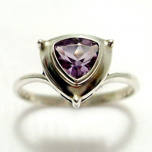 Prsten «Jiskra» - stříbro 925, přírodní ametyst