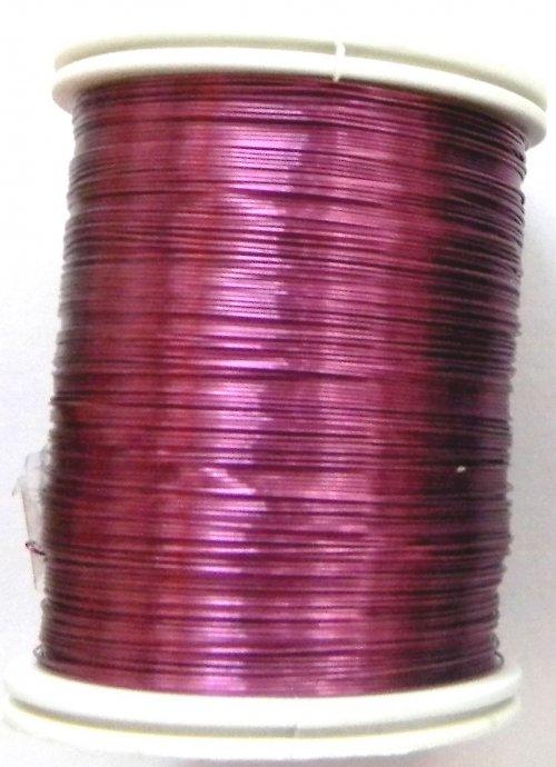 Měděný lakovaný drát 0,3 mm tmavě růžový