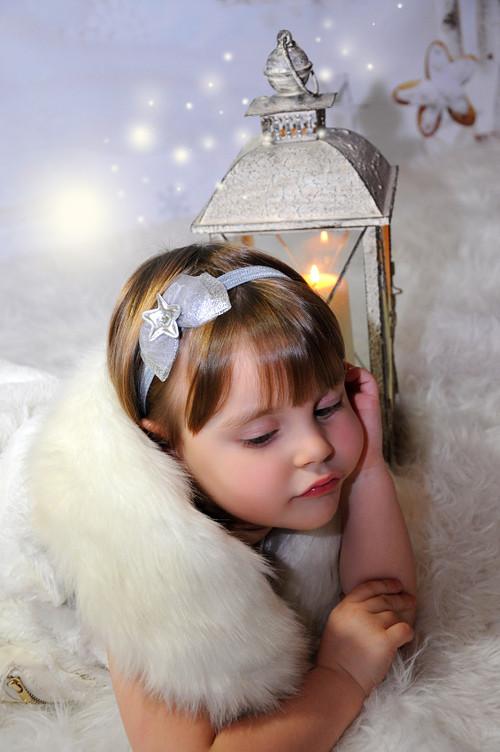 čelenka - mašle s hvězdičkou - stříbrnošedá