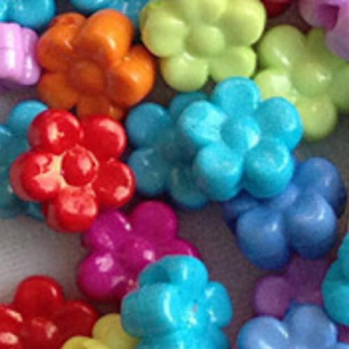 Knoflík kytička malá barevná - SADA 10 KUSŮ
