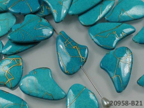 20958-B21 Velké ploché kapky melír TYRKYS, bal.4ks