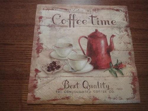 Ubrousek na decoupage - coffe time