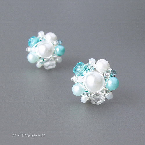 Náušničky Turquoise flower...