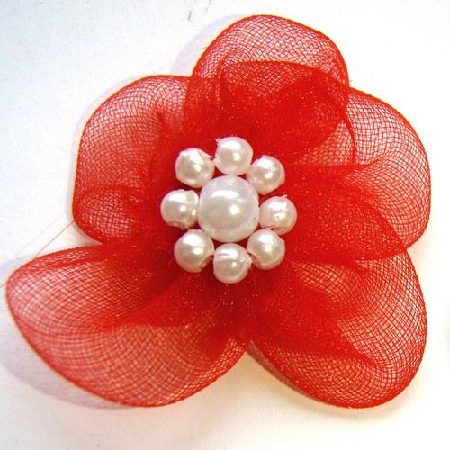 organza - červená kytička s perličkami