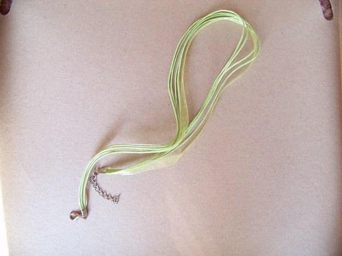 organza šňůrka/ zelená - světle 4+1/ 44cm/ 1ks