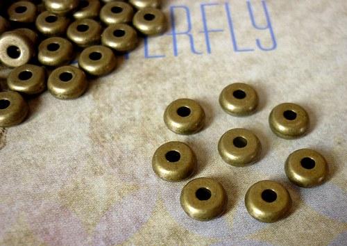 q1 / Mosazný korálek disk/ 5mm / 8ks