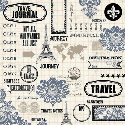 Scrapbooková čtvrtka Far Away - Collage