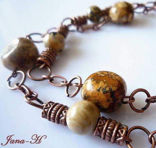 Dlouhý náhrdelník s pískovým jaspisem - Sleva!!!