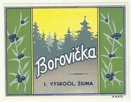 Etiketa Borovička Vyskočil Žilina