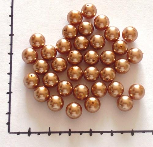 Perličky skleněné voskované bronzové 8mm, 36ks