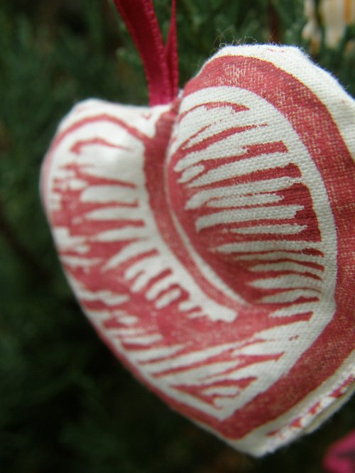Textilní ozdoba - srdíčko