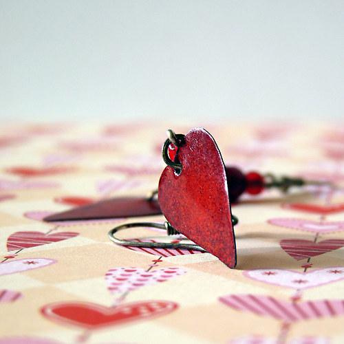 náušnice smaltovaná srdíčka