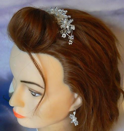 Svatební v křišťálu - vlasová ozdoba a náušnice