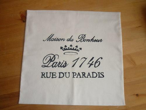 Povlak na polštář ve stylu Provence ruční písmo