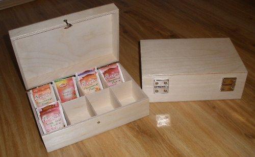 Dřevěná krabička na čaj 8 přihrádek