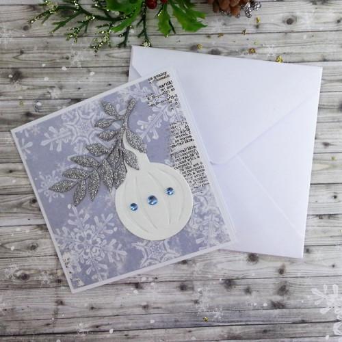 Přání střední - Vánoční ozdoba s větvičkou