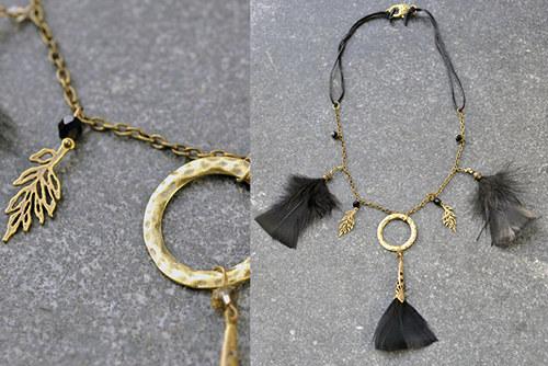 Náhrdelník bronz s černými pírky N0098B