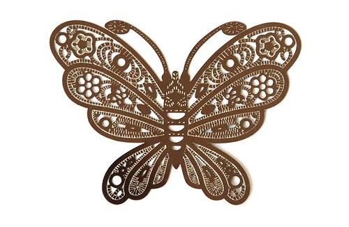 Motýl stříbrný 38x50mm