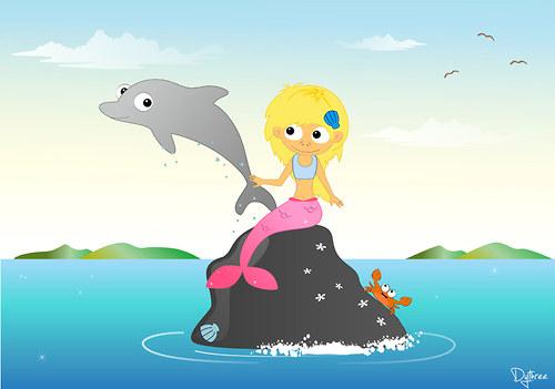 Ilustrace – Mořská víla ♥