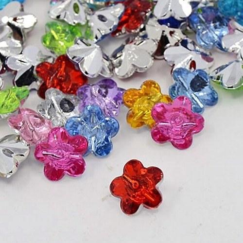 Knoflíčky třpytivé barevné kytičky 4ks