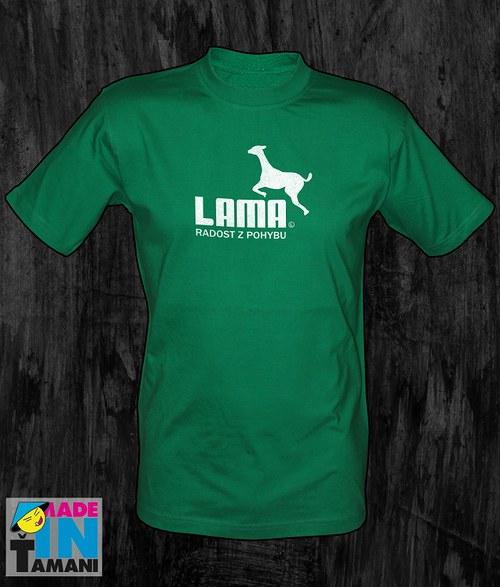 Pánské zelené tričko s Lamou