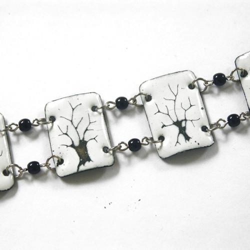 Bílé stromy - smaltovaný náramek