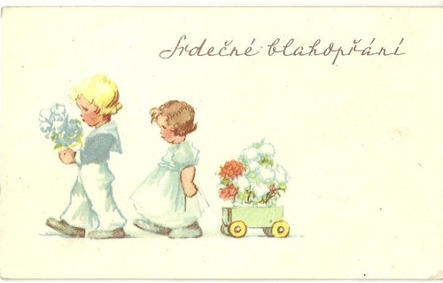 Tvrdá kartička Srdečné blahopřání s dětmi