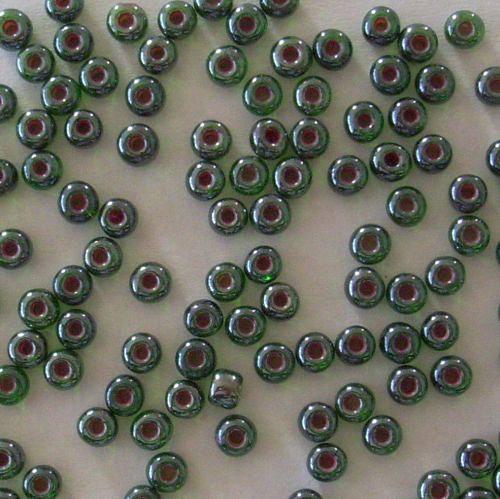 Skl. korálky - rokajl 5/0 zelený s červeným průt.