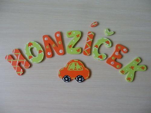 Dřevěné písmenka + dekorace Auto