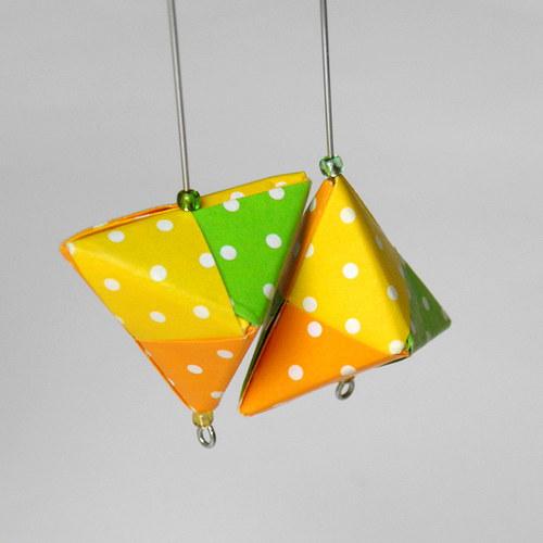 Jarní zářivé pyramidky - náušnice