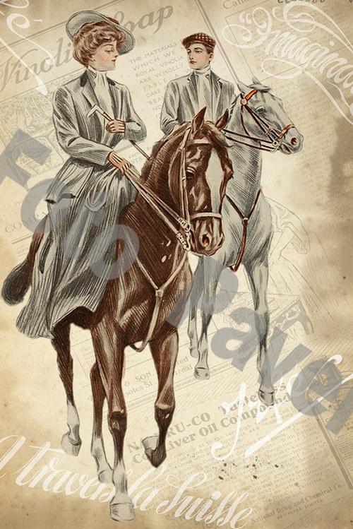 Vintage motiv - dáma na koni