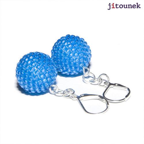 Modré kuličkové náušnice