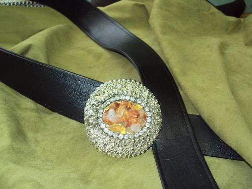 Design kožený dámský opasek krásná kamínková spona