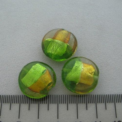 vinutá perla čočka 20mm, green-topaz
