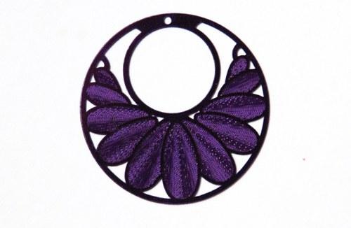 měděný přívěsek kolečko 3cm- fialové