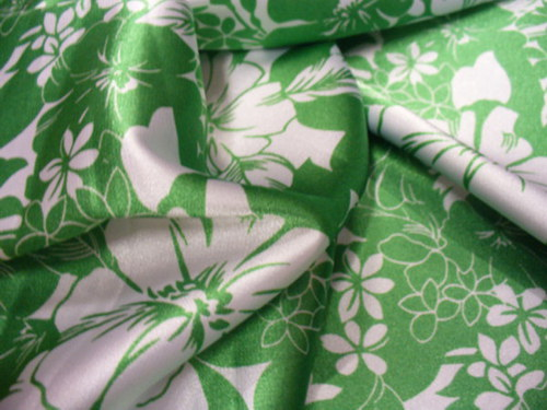 Letný zeleno-biely satén