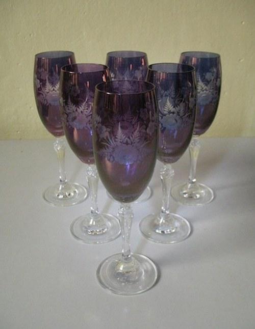 Broušené skleničky - sada 6 kusů