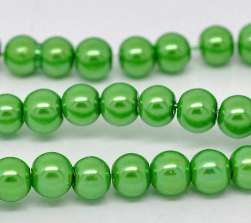 perly skleněné / zelená / 8mm/ 14ks