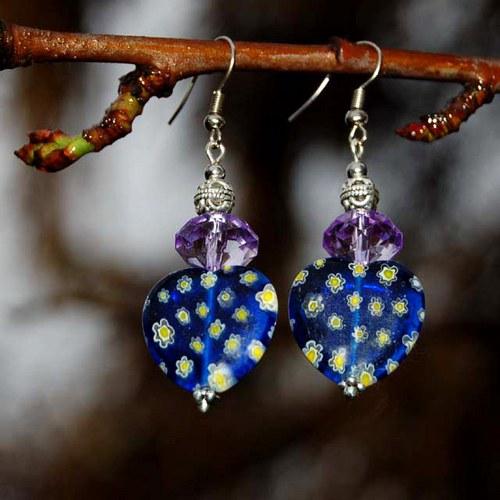 Modrofialová srdíčka millefiori