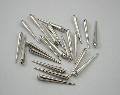 Akrylové bodliny, stříbrné, lesklé, 3,5 cm, 10 ks