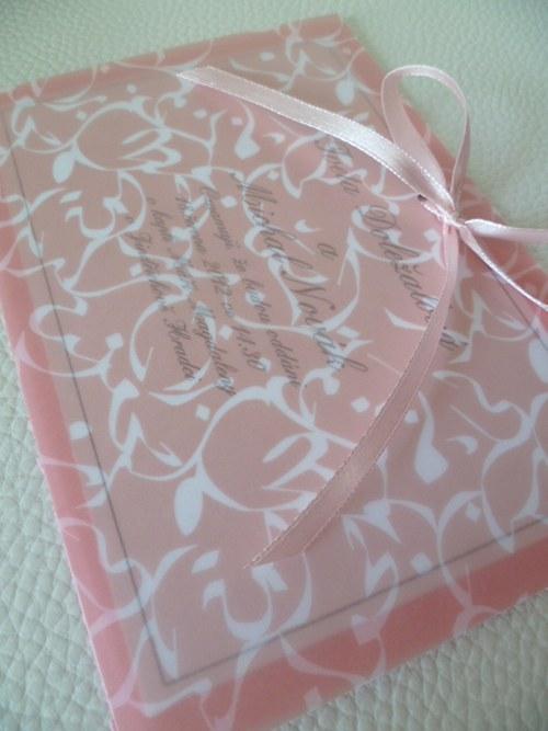 růžové svatební oznámení,pergamenový papír orient