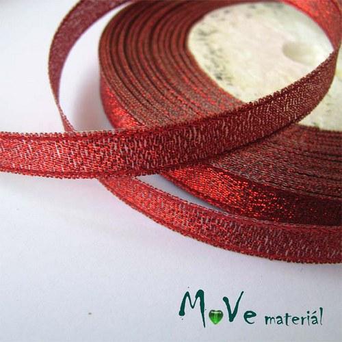 Stuha s lurexem červená, 10mm, 1m