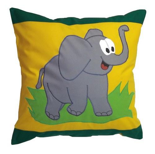 Povlak na polštářek - Žluto zelený - Slon