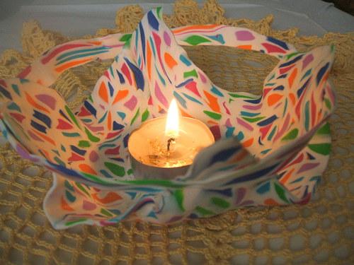 dekorace-mozaiková miska - svícen  (D 6004)
