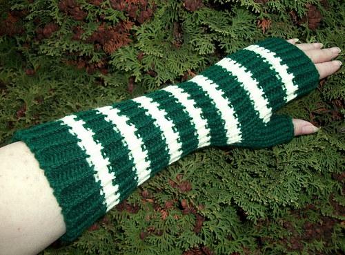 Pletené pruhované návleky na ruce - Aljaška