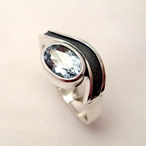 Prsten «Vlna» - stříbro 925, modrý topaz
