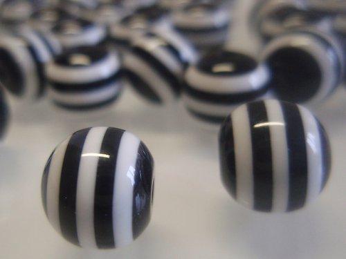 19470-B25 Korálky PROUŽKY 10mm černobílé bal.10ks