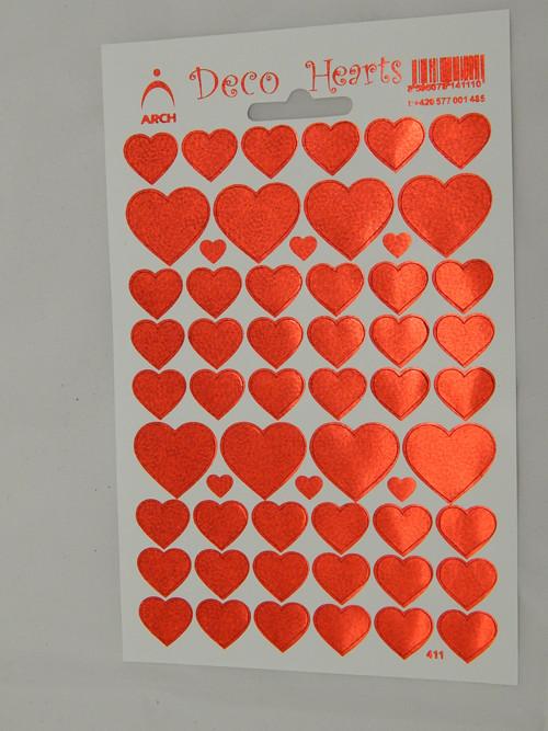 Samolepky lesk srdce červené